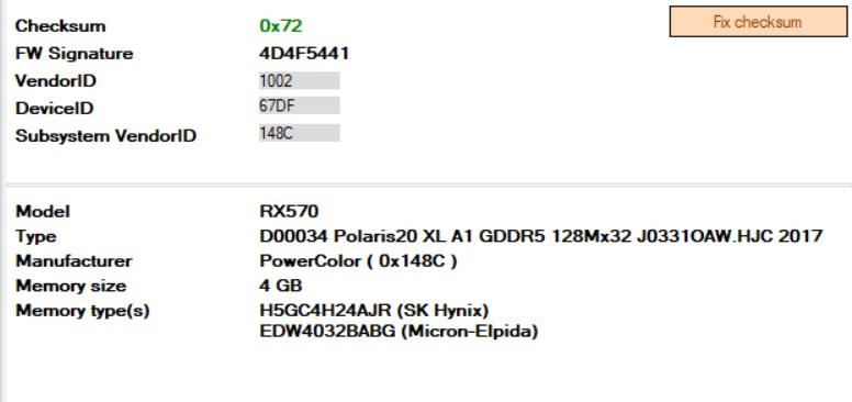 Mining Bios Powercolor Red Dragon RX 570 4GB Hynix/Elpida